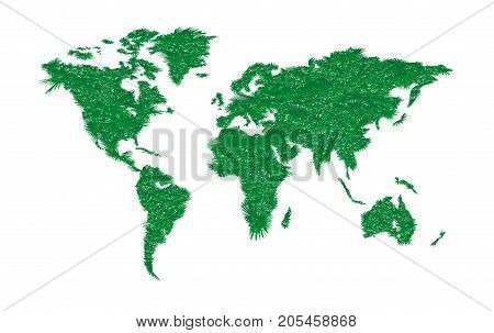 Ecology world map. Texture green grass. Vector illustration  isolated on white background. Symbol of careful attitude to the environment, eco-friendly goods, eco travel. Horizontal location.