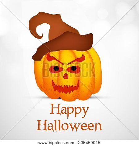 illustration of pumpkin face with happy Halloween text on the occasion of Halloween