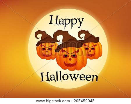 illustration of pumpkin faces and moon with happy Halloween text on the occasion of Halloween