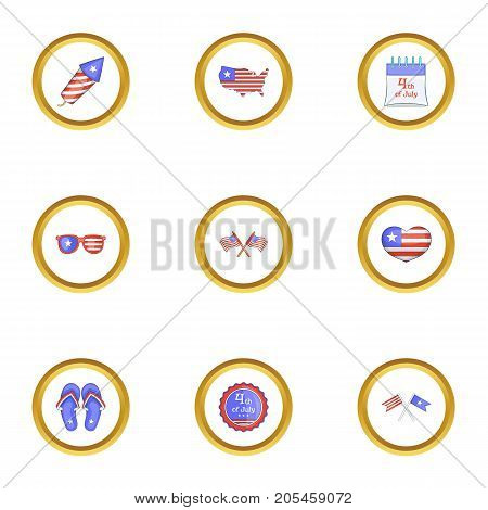 Fourth of July day icons set. Cartoon style set of 9 fourth of July day vector icons for web design