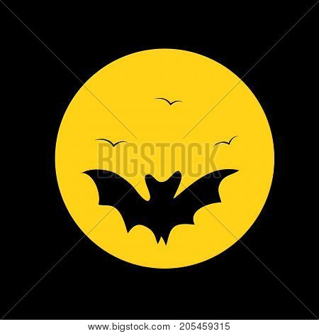 illustration of bat and moon on the occasion of Halloween