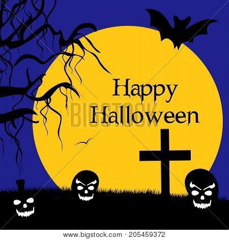 illustration of bat, moon, tree, cross and pumpkin face with happy Halloween text on the occasion of Halloween