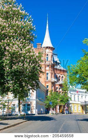 Kiev spring. Yaroslav Val Street  at summer