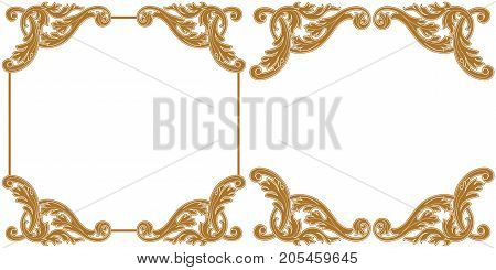 Vintage baroque frame scroll ornament engraving border floral retro pattern antique style acanthus foliage swirl decorative design element filigree calligraphy vector   damask - stock vector.