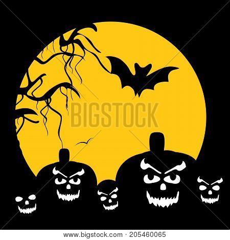 illustration of pumpkin faces, tree, bat and moon on the occasion of Halloween