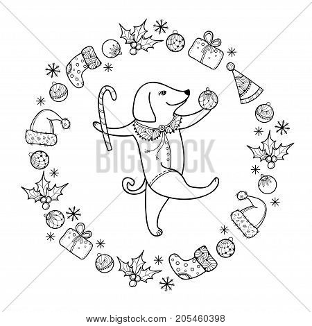 Vector greeting with outline happy dog with Christmas cane in black isolated. Symbol of Chinese New Year 2018 in contour style. Ornate dogs and decoration for winter holiday design and coloring book.