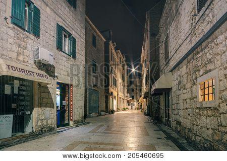 SPLIT CROATIA - SEPTEMBER 24 2015: Old street in Split night view Dalmatia Croatia