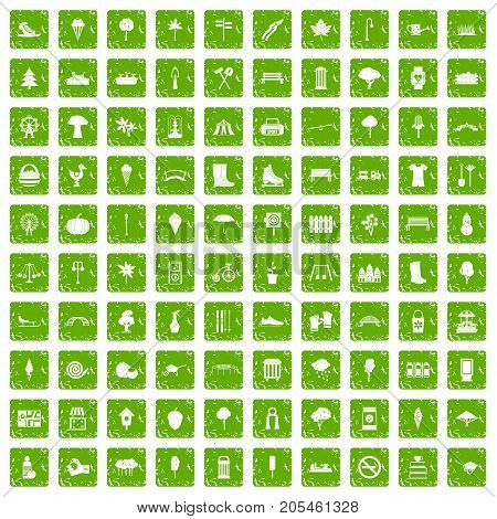 100 park icons set in grunge style green color isolated on white background vector illustration