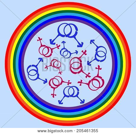 Symbols of same-sex couples, gay couples scattered around the rainbow. LGBT, same-sex love, freedom, pride