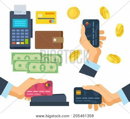 Pos terminal. Financial transactions, operation on payment. Banking, payment terminal, finance, monetary currencies and gold coins, bank card. Credit card payment at pos terminal. Vector illustration.