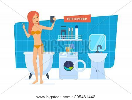 Selfie in bathroom concept. Beautiful sexy girl in a swimsuit doing selfie in the bathroom on the background of the interior of the room. Vector illustration isolated in cartoon style.