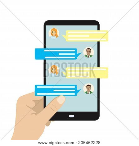 Chatting On Phone, Online Conversation With Texting Message