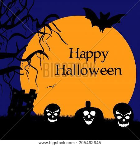 illustration of pumpkin face, bat and moon with happy Halloween text on the occasion of Halloween