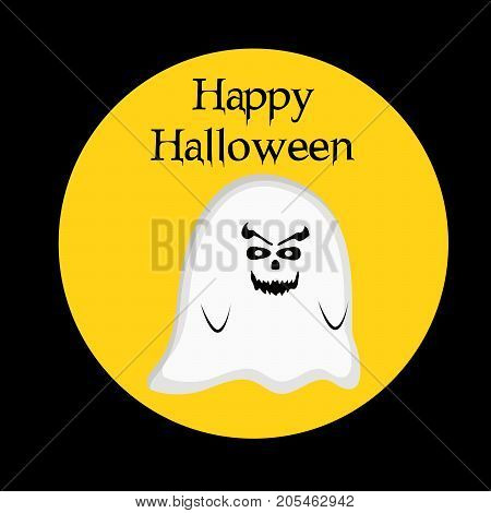 illustration of scary face with happy Halloween text on the occasion of Halloween