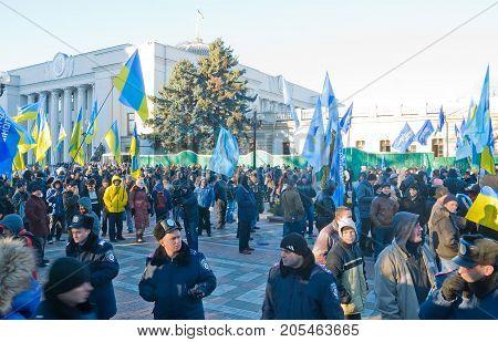 KIEV (KYIV) UKRAINE - DECEMBER 3 2013:Opponents of European integration rally near the Parliament
