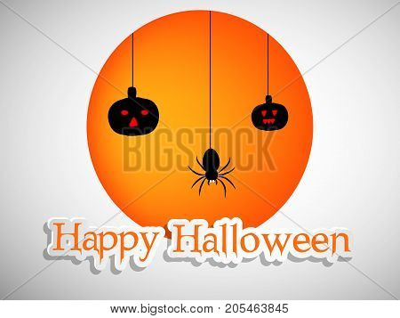illustration of hanging spider and pumpkins with happy Halloween text on the occasion of Halloween