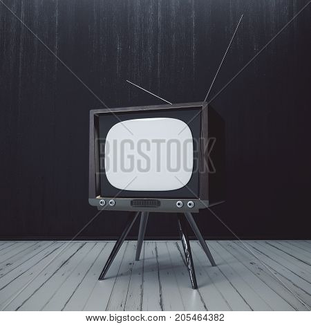 Interior With Blank Obsolete Tv