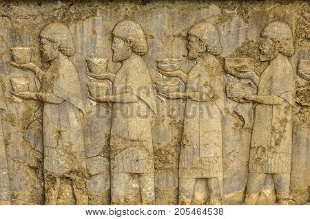 bas-reliefs the Persian kingdom which has remained on the place of the ancient Persepolis the dreena Alexander of Macedon's gain