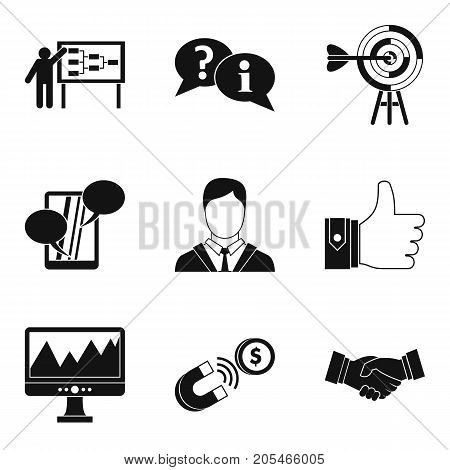 Team training icons set. Simple set of 9 team training vector icons for web isolated on white background