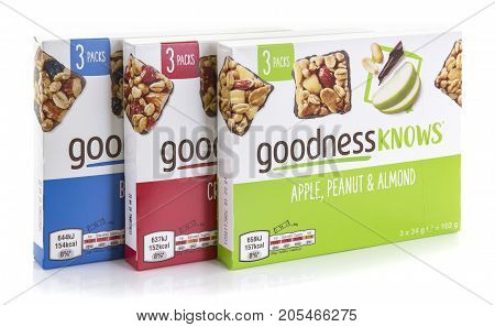 SWINDON UK - SEPTEMBER 24 2017: Three Packets of Goodness Knows Snack Bars on a white background