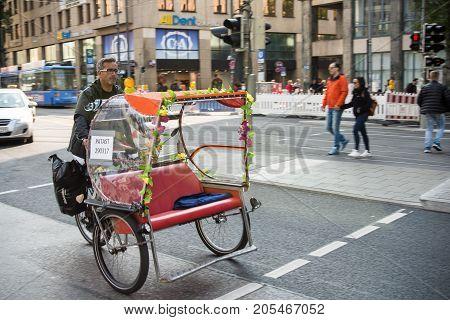 MunichGermany-September 242017: An empty riksha on its way to the Oktoberfest