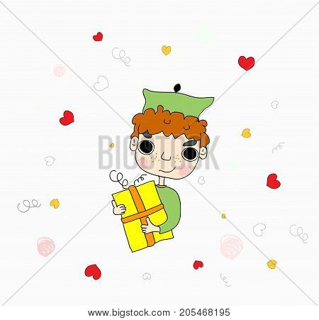 Cute boy submitting gift vector green art