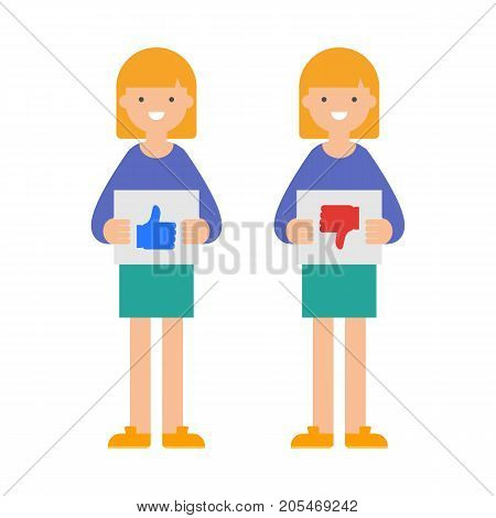 Vector illustration of women with thumb up and thumb down signs, user reviews