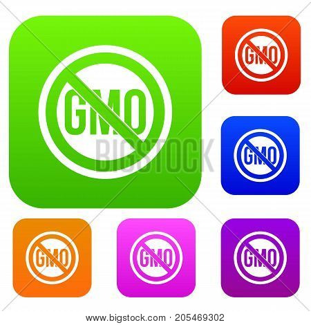 Stop GMO set icon color in flat style isolated on white. Collection sings vector illustration