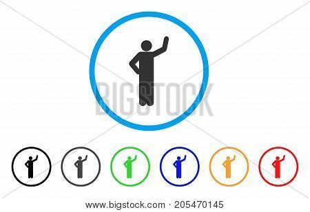 Assurance Pose rounded icon. Style is a flat assurance pose grey symbol inside light blue circle with black, gray, green, blue, red, orange color versions.
