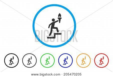 Climbing Leader With Torch rounded icon. Style is a flat climbing leader with torch gray symbol inside light blue circle with black, gray, green, blue, red, orange versions.