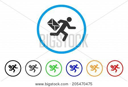 Mail Courier rounded icon. Style is a flat mail courier gray symbol inside light blue circle with black, gray, green, blue, red, orange color versions. Vector designed for web and software interfaces.