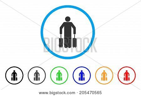Passenger Baggage rounded icon. Style is a flat passenger baggage gray symbol inside light blue circle with black, gray, green, blue, red, orange variants.