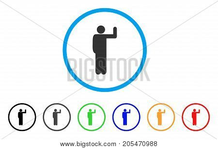 Vote Pose rounded icon. Style is a flat vote pose grey symbol inside light blue circle with black, gray, green, blue, red, orange color versions. Vector designed for web and software interfaces.