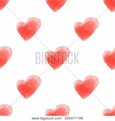 Cute watercolor red hearts seamless pattern background.