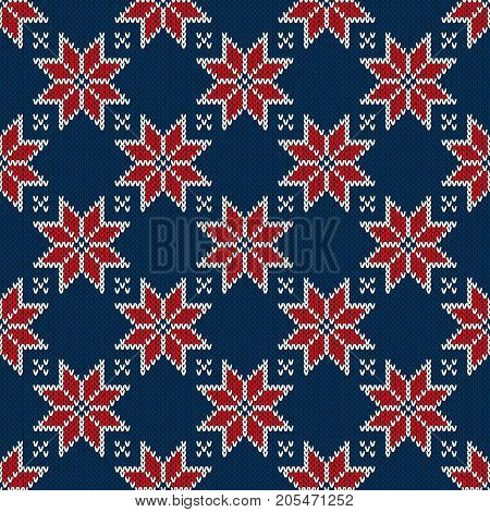 Traditional Winter Holiday Seamless Knitting Pattern. Knitting Sweater Design. Wool Knitted Texture Imitation