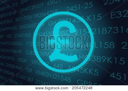 Vector business theme illustration. A pound sterling sign against the background of electronic digits.