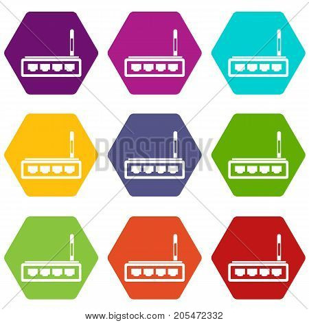 Router icon set many color hexahedron isolated on white vector illustration