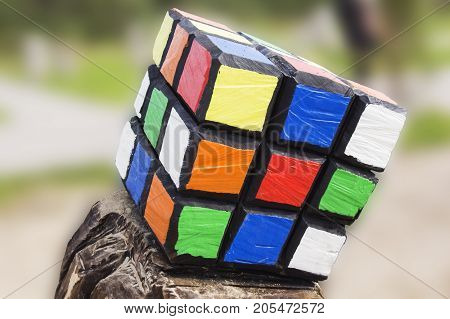 Russia Kaliningrad oblast 23.09. 2017: the Rubik's cube on blurred background. Rubik's cube was invented by Hungarian architect Erno Rubik in 1974