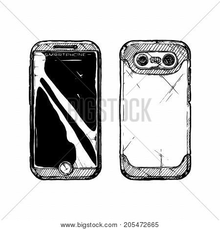 Smartphone with dual-camera. Vector hand drawn sketch of camera phone in vintage engraved style on white background.