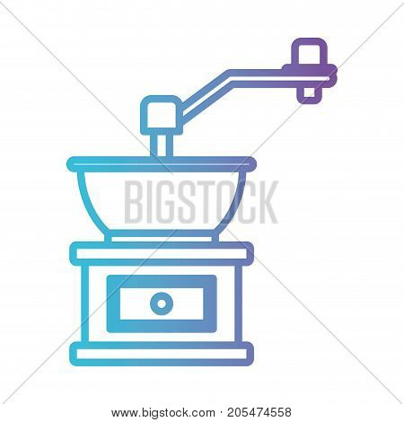 coffee grinding with crank gradient color silhouette from blue to purple vector illustration poster