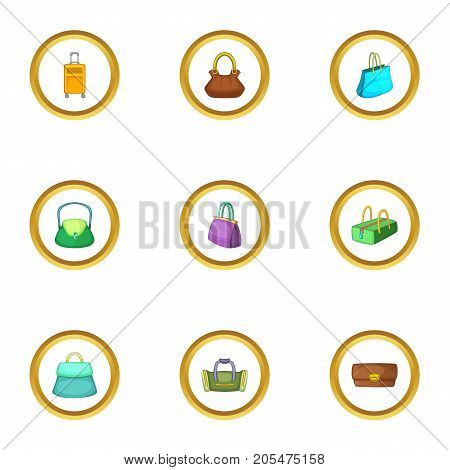 Bags for all occasion icons set. Cartoon style set of 9 bags for all occasion vector icons for web design