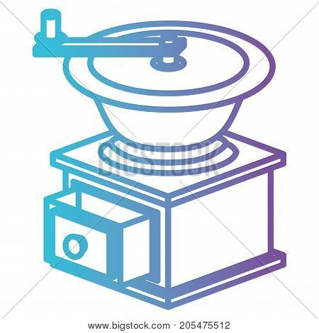 coffee grinding with crank side view gradient color silhouette from blue to purple vector illustration