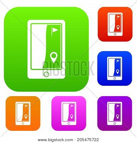 Golf course navigator set icon color in flat style isolated on white. Collection sings vector illustration