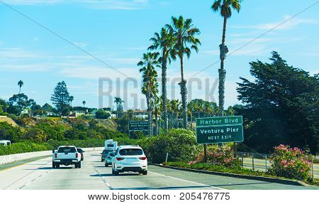 Traffic on pacific coast highway southbound. California USA