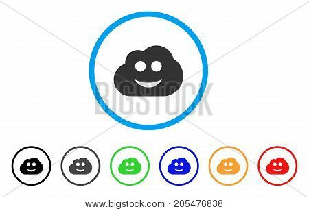 Cloud Smiley rounded icon. Style is a flat cloud smiley grey symbol inside light blue circle with black, gray, green, blue, red, orange variants. Vector designed for web and software interfaces.
