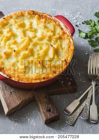 Vegetarian shepherd's pie. Potatoes lentils and seasonal garden vegetables casserole. Autumn vegetarian lunch