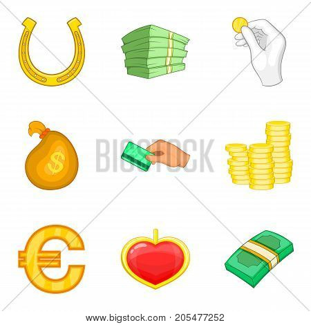 Rich folks icons set. Cartoon set of 9 rich folks vector icons for web isolated on white background