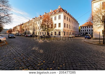 Autumn street architecture in old town of Dresden. Germany. Europe.