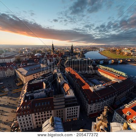 Evening over the Dresden city Germany. Saxony