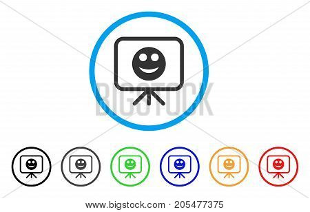 Presentation Board Smile rounded icon. Style is a flat presentation board smile grey symbol inside light blue circle with black, gray, green, blue, red, orange color versions.